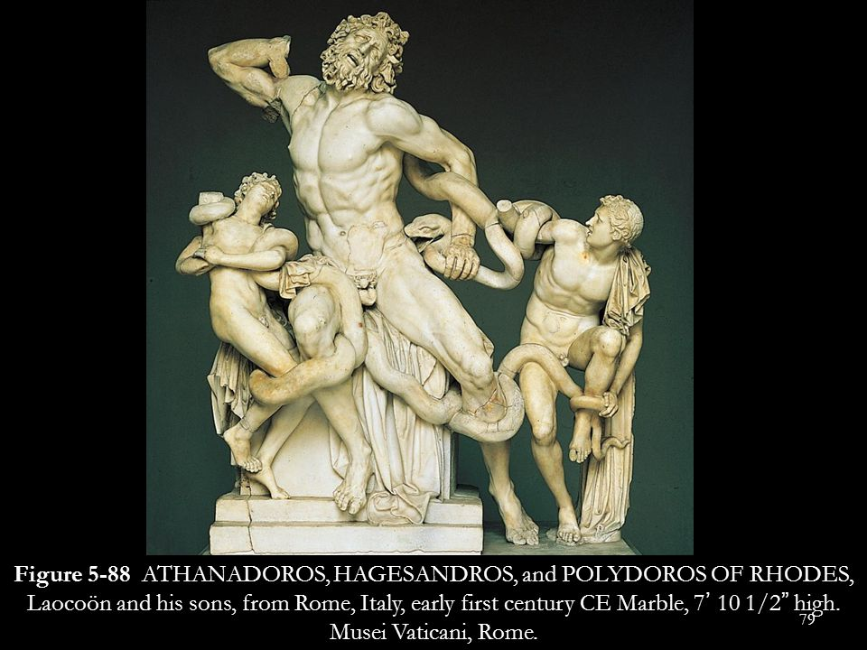 Figure 5-88 ATHANADOROS, HAGESANDROS, and POLYDOROS OF RHODES, Laocoön and his sons, from Rome, Italy, early first century CE Marble, 7' 10 1/2 high.