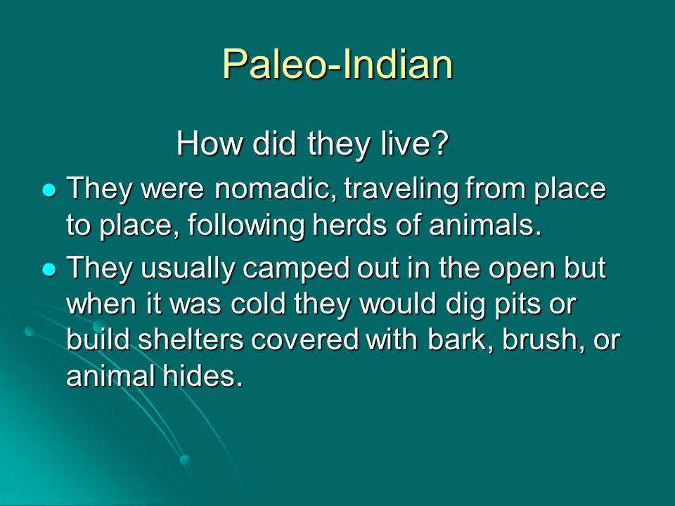 Paleo-Indian How did they live