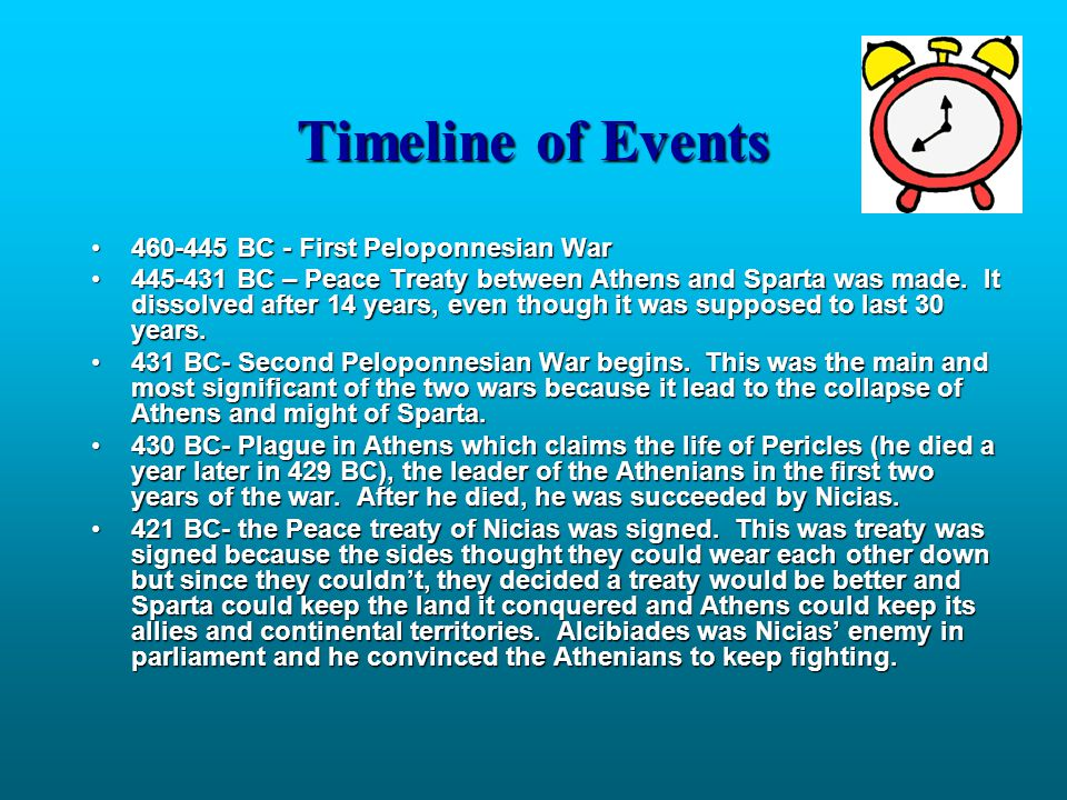 Timeline of Events 460-445 BC - First Peloponnesian War