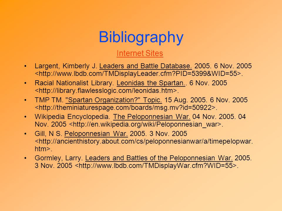 Bibliography Internet Sites