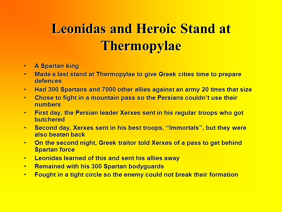 Leonidas and Heroic Stand at Thermopylae