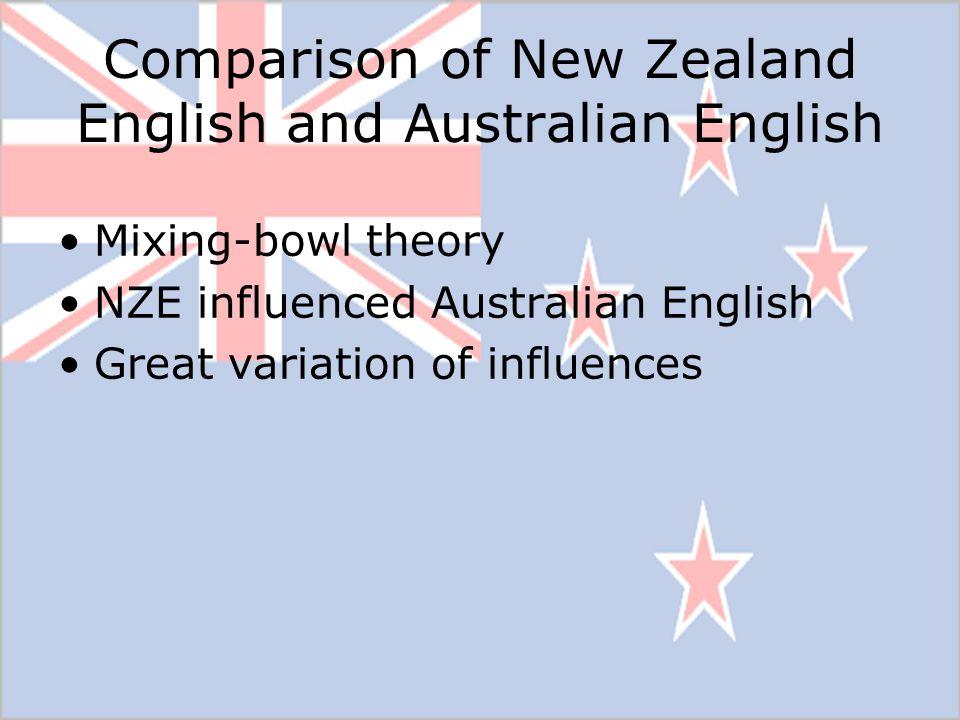 Comparison of New Zealand English and Australian English