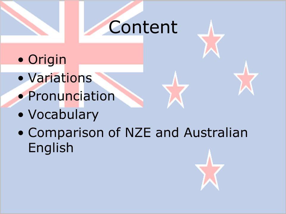 Content Origin Variations Pronunciation Vocabulary