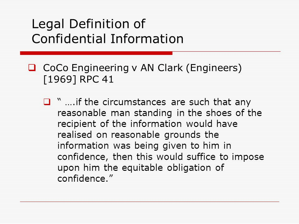 Legal Definition of Confidential Information