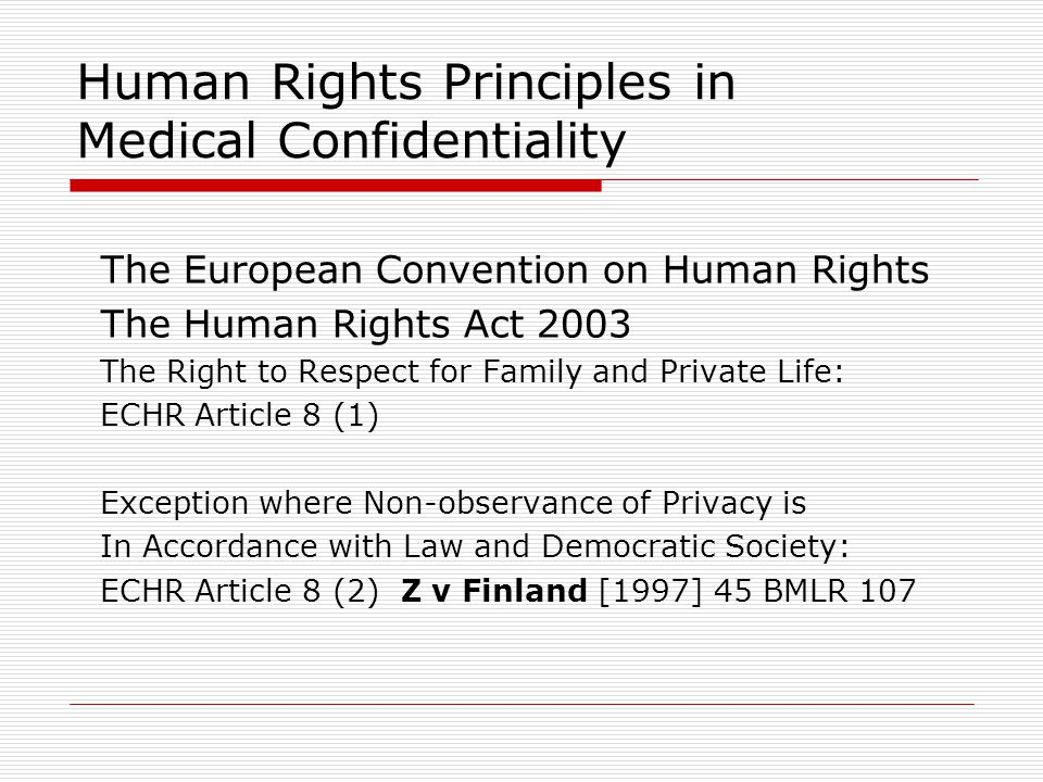 Human Rights Principles in Medical Confidentiality