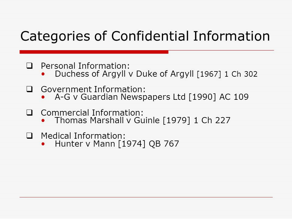 Categories of Confidential Information