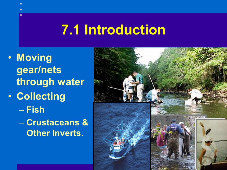 7.1 Introduction Moving gear/nets through water Collecting Fish