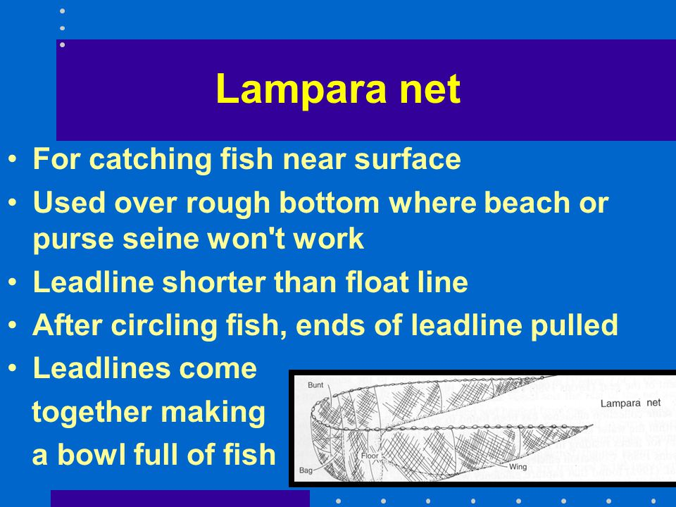 Lampara net For catching fish near surface