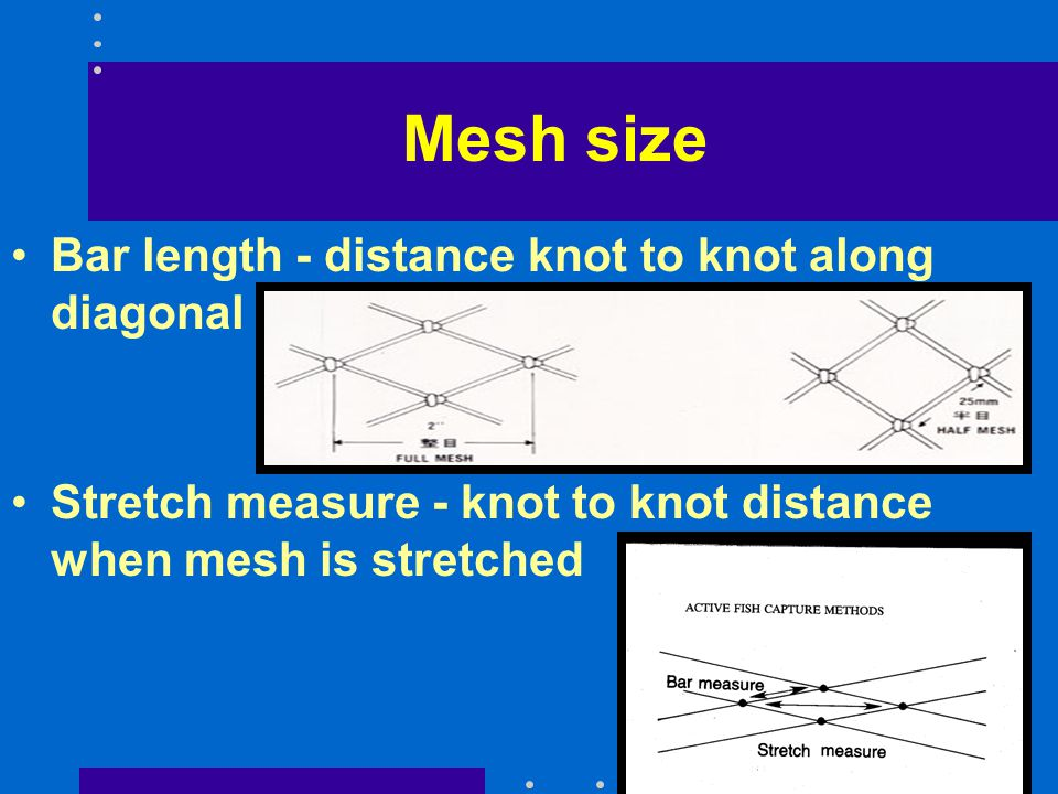 Mesh size Bar length - distance knot to knot along diagonal