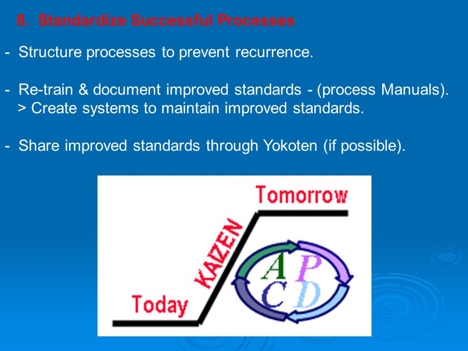 8. Standardize Successful Processes
