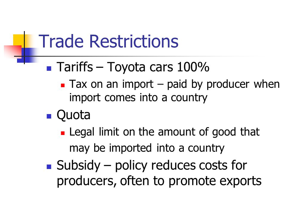 Trade Restrictions Tariffs – Toyota cars 100% Quota