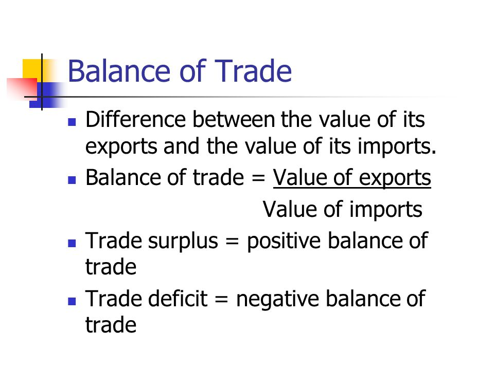 Balance of Trade Difference between the value of its exports and the value of its imports. Balance of trade = Value of exports.