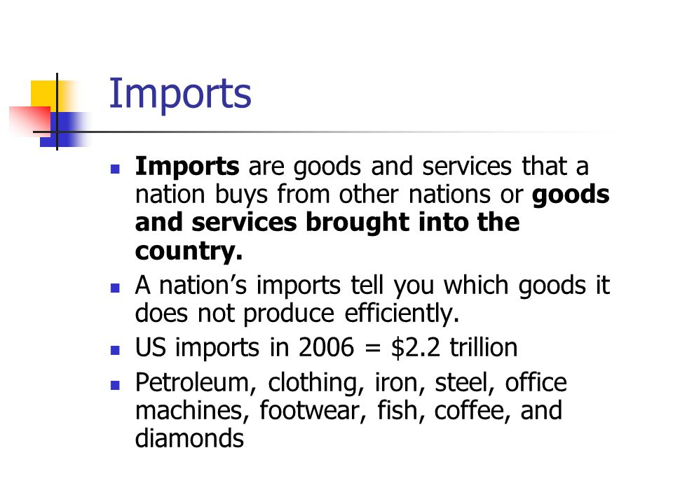 Imports Imports are goods and services that a nation buys from other nations or goods and services brought into the country.