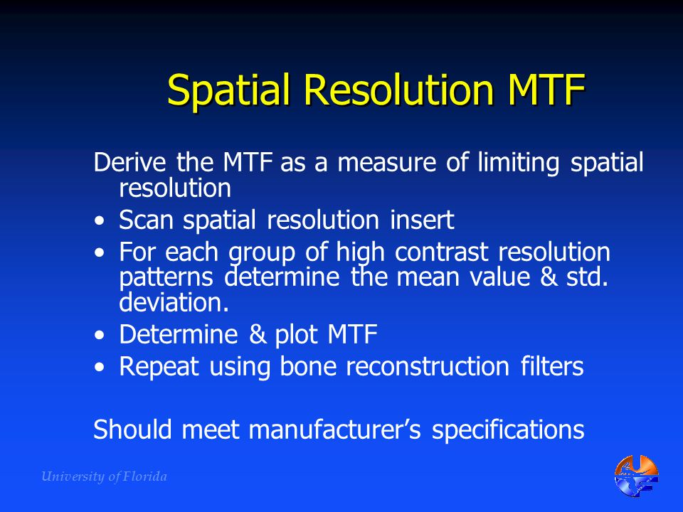 Spatial Resolution MTF