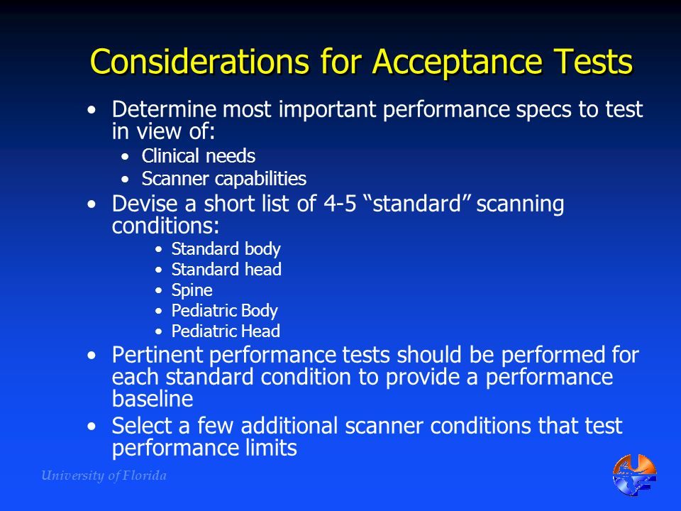 Considerations for Acceptance Tests