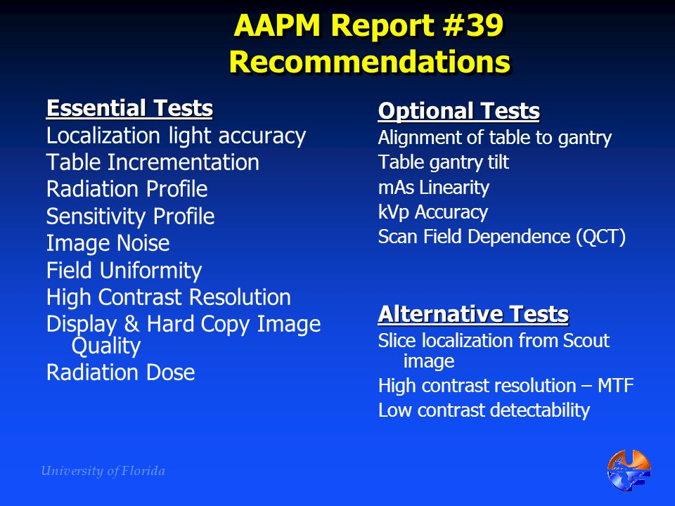 AAPM Report #39 Recommendations