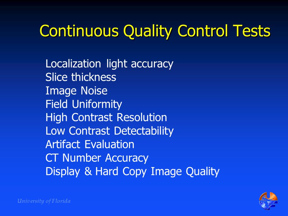 Continuous Quality Control Tests