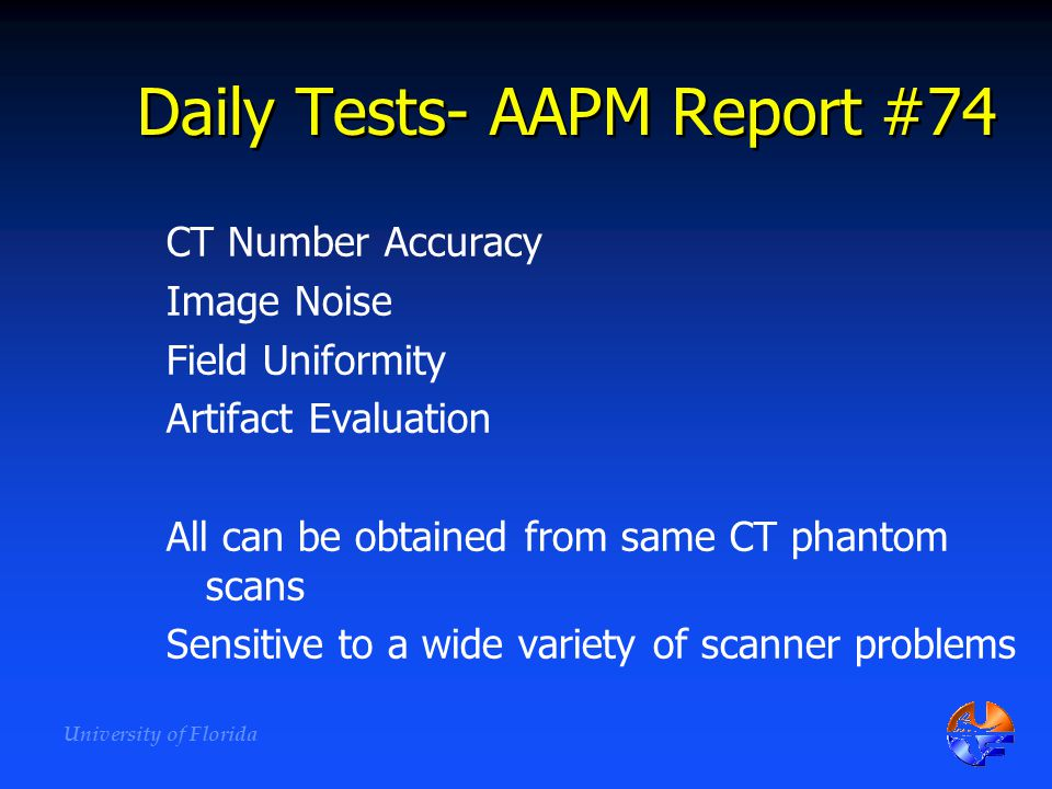 Daily Tests- AAPM Report #74