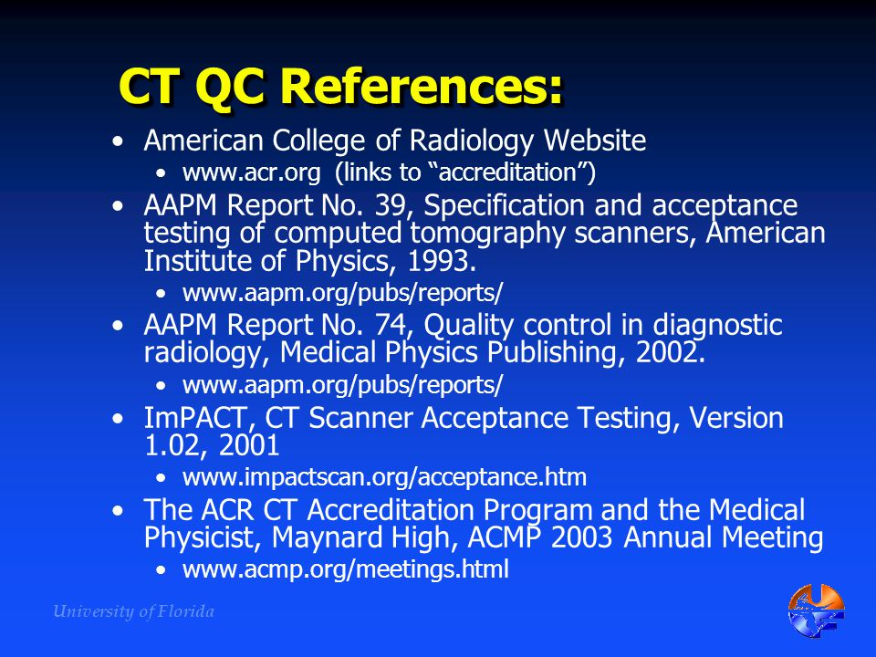 CT QC References: American College of Radiology Website