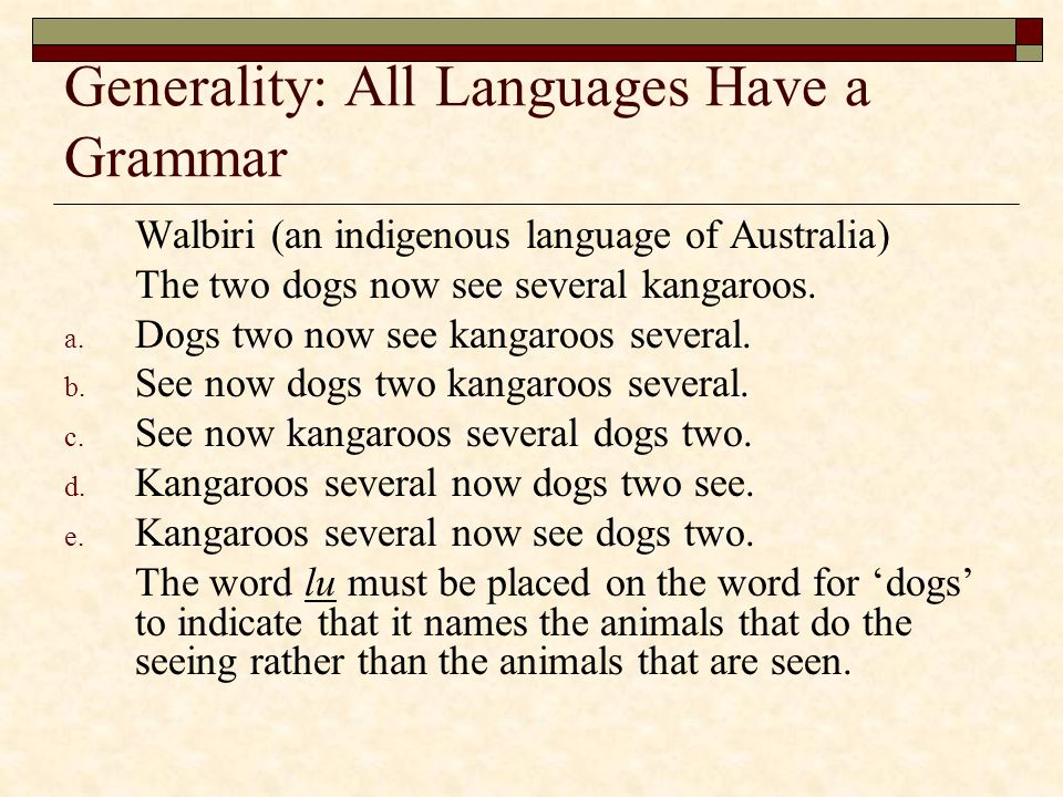 Generality: All Languages Have a Grammar