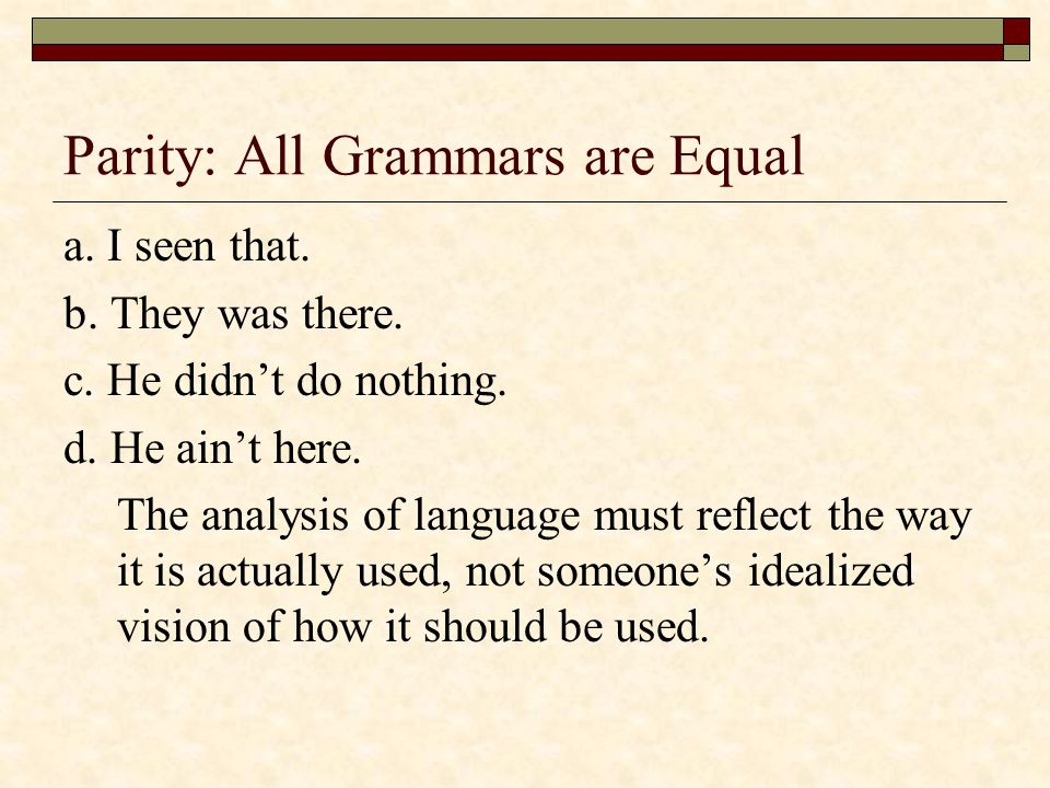 Parity: All Grammars are Equal