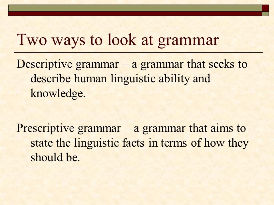 Two ways to look at grammar