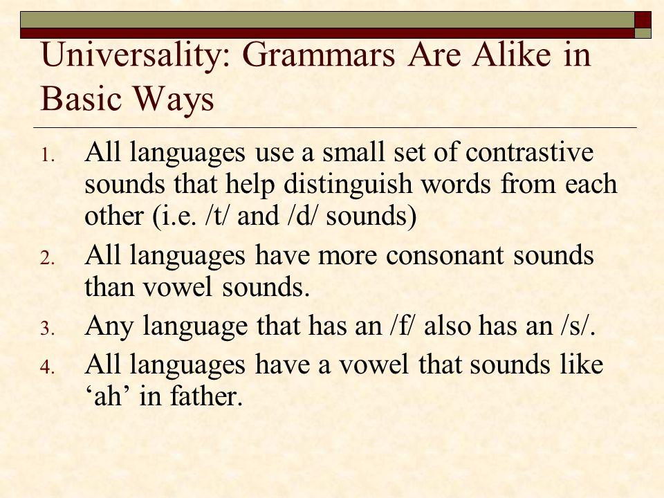 Universality: Grammars Are Alike in Basic Ways