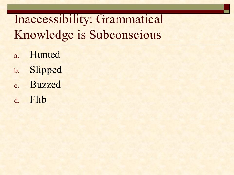 Inaccessibility: Grammatical Knowledge is Subconscious
