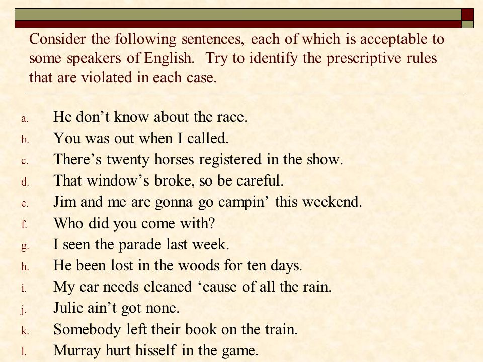 Consider the following sentences, each of which is acceptable to some speakers of English. Try to identify the prescriptive rules that are violated in each case.