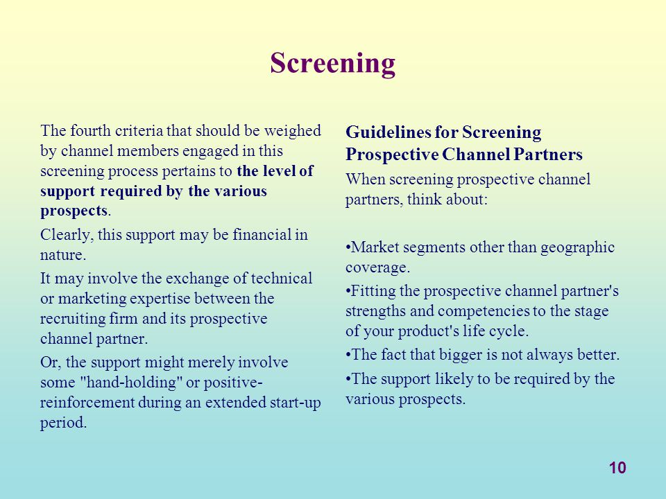 Screening Guidelines for Screening Prospective Channel Partners