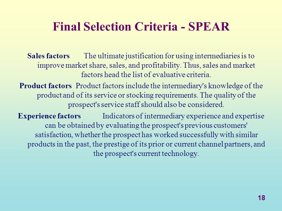 Final Selection Criteria - SPEAR