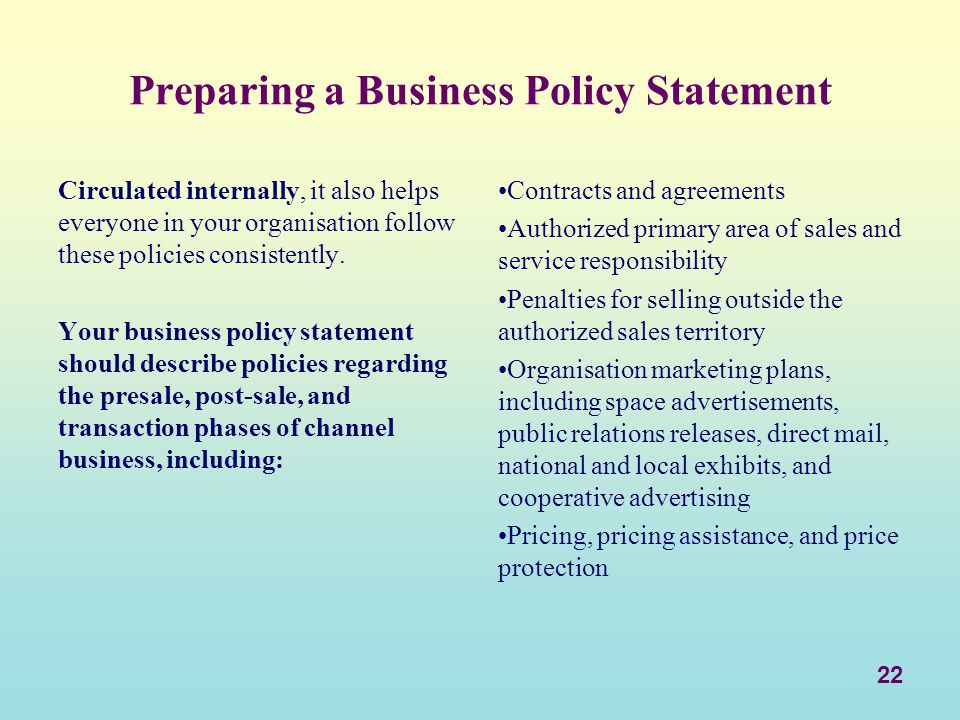 Preparing a Business Policy Statement