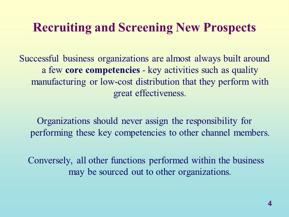 Recruiting and Screening New Prospects