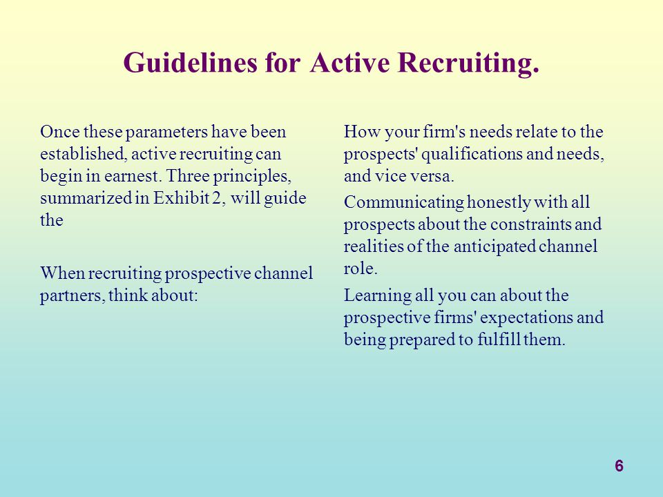 Guidelines for Active Recruiting.