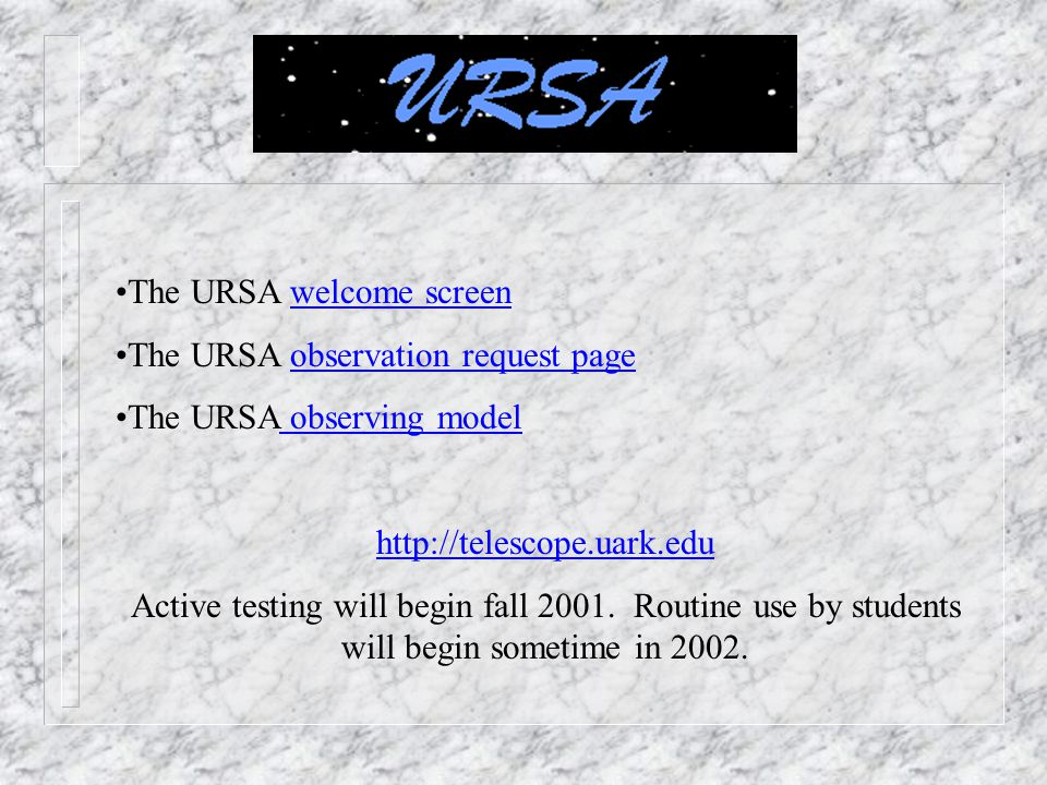 The URSA welcome screen