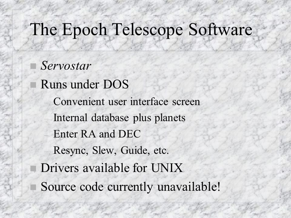 The Epoch Telescope Software