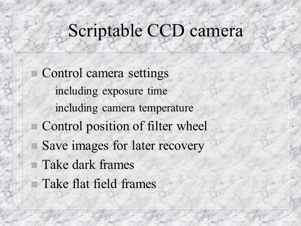 Scriptable CCD camera Control camera settings