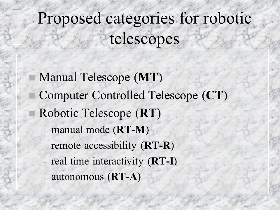 Proposed categories for robotic telescopes