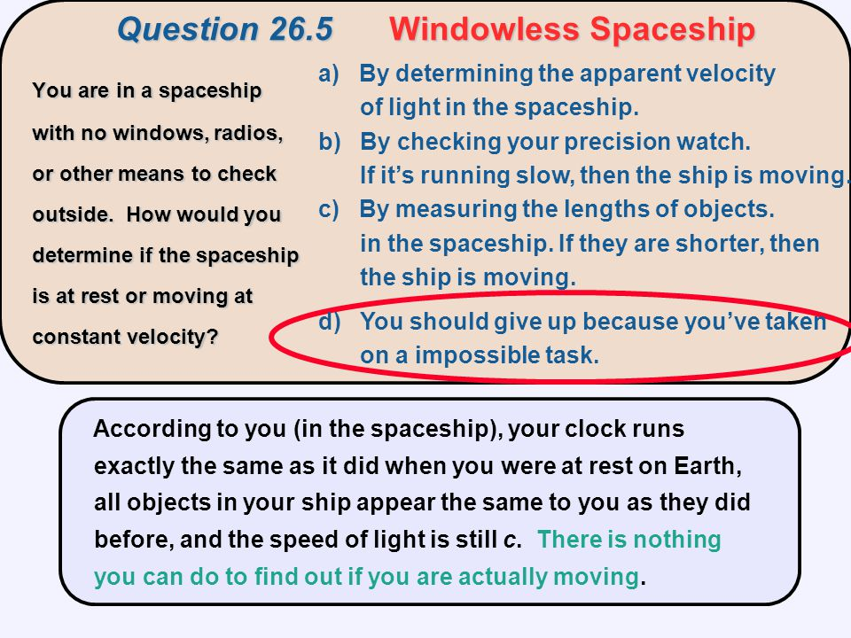 Question 26.5 Windowless Spaceship
