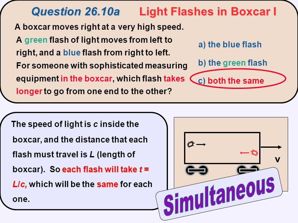 Question 26.10a Light Flashes in Boxcar I