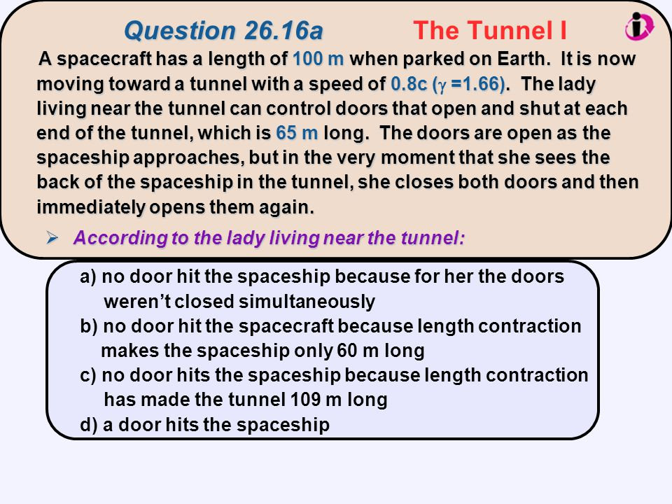 Question 26.16a The Tunnel I