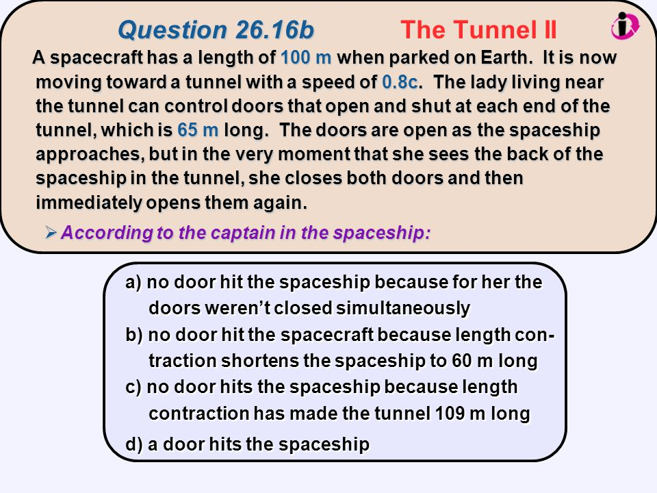Question 26.16b The Tunnel II
