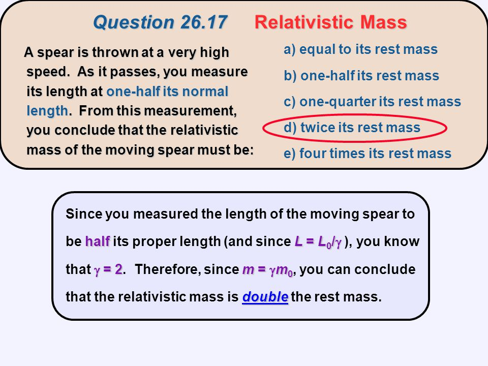 Question 26.17 Relativistic Mass