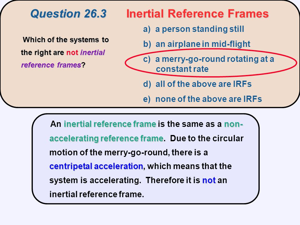 Question 26.3 Inertial Reference Frames