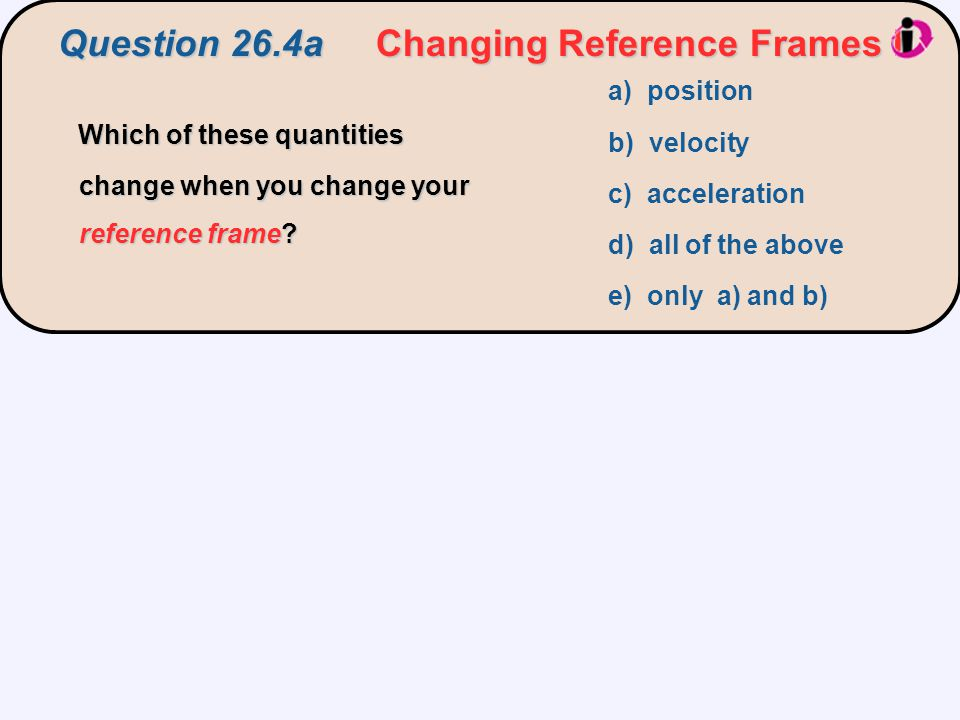 Question 26.4a Changing Reference Frames I