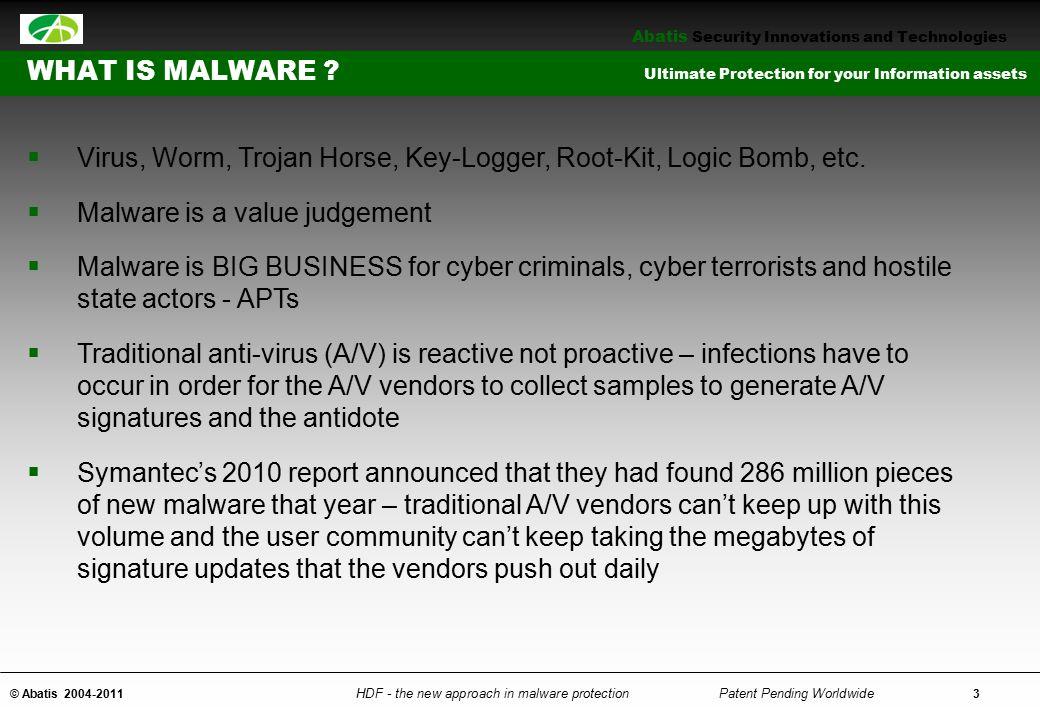 Virus, Worm, Trojan Horse, Key-Logger, Root-Kit, Logic Bomb, etc.