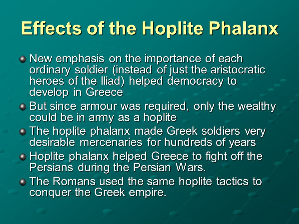 Effects of the Hoplite Phalanx