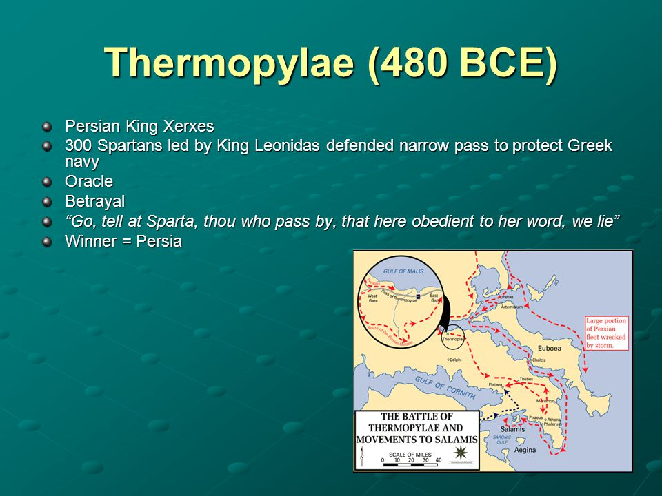 Thermopylae (480 BCE) Persian King Xerxes