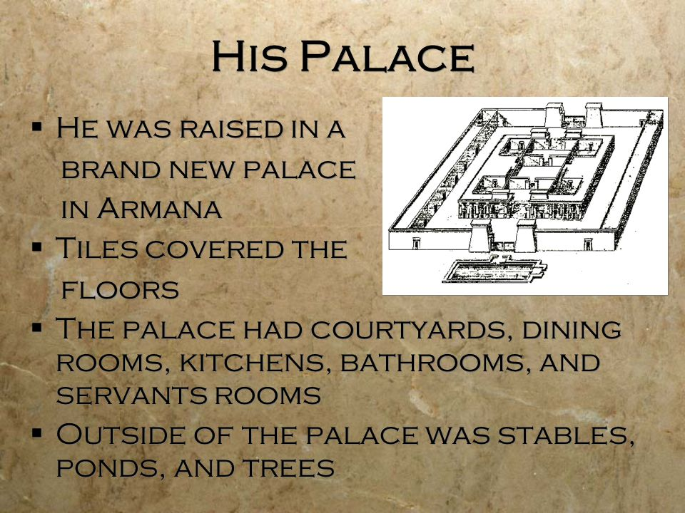 His Palace He was raised in a brand new palace in Armana