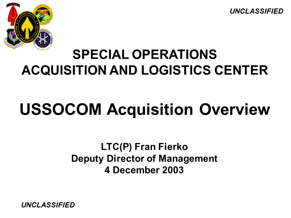 Ussocom Acquisition Overview